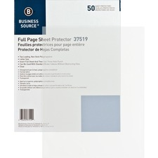 BSN 37519 Bus. Source Non-stick Full Page Sheet Protectors BSN37519