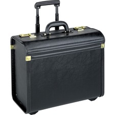 "Lorell Travel/Luggage Case (Roller) Travel Essential, Books, File Folder - Black - Vinyl - Handle - 14"" (355.60 mm) Height x 22"" (558.80 mm) Width x 8"" (203.20 mm) Depth"