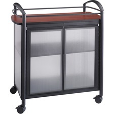 """Safco Impromptu Refreshment Cart - 200 kg Capacity - 4 Casters - 2.50"""" (63.50 mm) Caster Size - Steel - x 34"""" Width x 21.3"""" Depth x 36.5"""" Height - Steel Frame - Black - 1 Each"""
