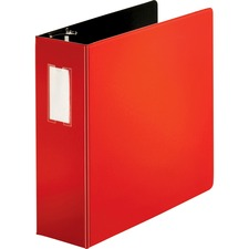 """Business Source Slanted D-ring Binders - 4"""" Binder Capacity - 3 x D-Ring Fastener(s) - 2 Internal Pocket(s) - Chipboard, Polypropylene - Red - PVC-free, Non-stick, Label Holder, Gap-free Ring, Non-glare, Heavy Duty, Open and Closed Triggers, Durable"""