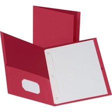 """Business Source Letter Recycled Pocket Folder - 8 1/2"""" x 11"""" - 100 Sheet Capacity - 3 x Prong Fastener(s) - 1/2"""" Fastener Capacity - 2 Inside Front & Back Pocket(s) - Leatherette - Red - 35% Recycled - 25 / Box"""