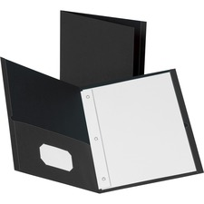 """Business Source Letter Recycled Pocket Folder - 8 1/2"""" x 11"""" - 100 Sheet Capacity - 3 x Prong Fastener(s) - 2 Inside Front & Back Pocket(s) - Leatherette - Black - 35% Recycled - 25 / Box"""