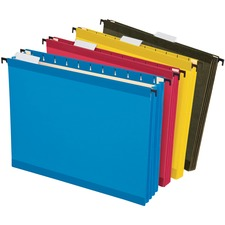 """Pendaflex SureHook Letter Recycled Hanging Folder - 3 1/2"""" Folder Capacity - 8 1/2"""" x 11"""" - 3 1/2"""" Expansion - Poly - Blue, Red, Yellow, Standard Green - 10% Recycled - 4 / Pack"""