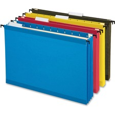 """Pendaflex SureHook Legal Recycled Hanging Folder - 3 1/2"""" Folder Capacity - 8 1/2"""" x 14"""" - 3 1/2"""" Expansion - Poly - Blue, Red, Yellow, Standard Green - 10% Recycled - 4 / Pack"""