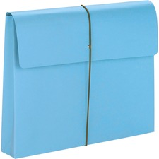 "Smead Letter Recycled File Wallet - 8 1/2"" x 11"" - 2"" Expansion - 1 Pocket(s) - Blue - 10% Recycled"