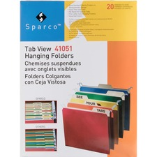 SPR 41051 Sparco Tabview Hanging File Folders SPR41051