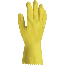 ProGuard Flock Lined Latex Gloves - Medium Size - Yellow - Chemical Resistant, Abrasion Resistant, Embossed Grip - For Janitorial Use, Healthcare Working - 12 / Pack