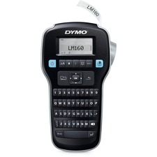 "Dymo LabelManager 160 Label Maker - Label, Tape - 0.24"" (6 mm), 0.35"" (9 mm), 0.47"" (12 mm) - LCD Screen - Battery, Power Adapter - 6 Batteries Supported - AAA - Black - QWERTY, Underline, Vertical Printing, Print Preview, Manual Cutter - for Office, Home"