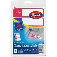 AVE 5153 Avery Assorted Flexible Name Badge Labels AVE5153