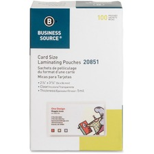 BSN 20851 Bus. Source Clear Laminating Credit Card Pouch BSN20851