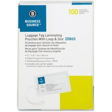 BSN 20865 Bus. Source Luggage Tag 10 mil Laminating Pouches BSN20865