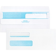 "Business Source Double Window No. 8-5/8 Check Envelopes - Double Window - #8 5/8 - 8 5/8"" Width x 3 5/8"" Length - 24 lb - Self-sealing - 500 / Box - White"