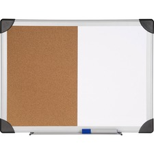 "Lorell Dry Erase Aluminum Frame Cork Combo Boards - 18"" (457.20 mm) Height x 24"" (609.60 mm) Width - Natural Cork Surface - Self-healing - Aluminum Frame - 1 Each"