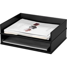 Victor Wood Stacking Letter Tray - Desktop - Stackable, Durable, Rubber Feet, Sturdy - Black - Wood, Faux Leather - 1 Each