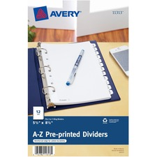 """Avery® A-Z Preprinted Tab Dividers - 12 x Divider(s) - A-Z - 12 Tab(s)/Set - 5.50"""" Divider Width x 8.50"""" Divider Length - 7 Hole Punched - White Paper Divider - White Paper Tab(s) - 2"""
