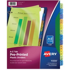 AVE11330 - Avery® Plastic Pre-printed Tab Dividers