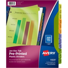 """Avery® Preprinted Monthly Tabs Plastic Dividers - 12 x Divider(s) - Jan-Dec - 12 Tab(s)/Set - 8.50"""" Divider Width x 11"""" Divider Length - 3 Hole Punched - Multicolor Plastic Divider - Multicolor Plastic Tab(s) - 12 Set"""