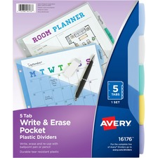 AVE 16176 Avery Translucent Write-On Dividers w/Pockets AVE16176