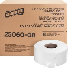 "Genuine Joe Jumbo Dispenser Roll Bath Tissue - 2 Ply - 3.5"" x 1000 ft - 9"" (228.60 mm) Roll Diameter - White - Nonperforated, Fragrance-free - For Restroom, Washroom - 8 / Carton"