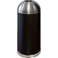"Genuine Joe 15 Gallon Dome Top Trash Receptacle - 56.78 L Capacity - 40"" Height x 16.5"" Diameter - Black, Silver - 1 Each"
