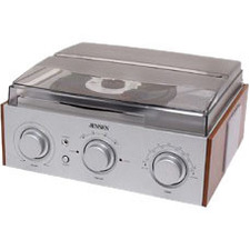 Jensen JTA220 3-Speed Stereo Turntable with AM/FM Radio (Silver) JTA-220