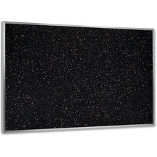 """Ghent ATR23-TN Textured Tackboard - 24"""" (609.60 mm) Height x 36"""" (914.40 mm) Width - Black Rubber, Tan Speck Surface - Fade Resistant, Stain Resistant, Self-healing - Anodized Aluminum Frame - 1 Each"""