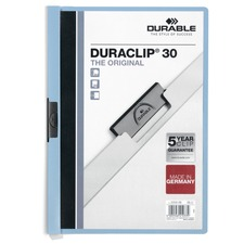 "DURABLE DURACLIP Letter Report Cover - 8 1/2"" x 11"" - 30 Sheet Capacity - Vinyl - Blue - 1 Each"