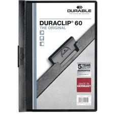 "DURABLE DURACLIP Letter Report Cover - 8 1/2"" x 11"" - 60 Sheet Capacity - Vinyl - Black - 1 Each"