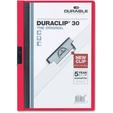 """DURABLE DURACLIP Letter Report Cover - 8 1/2"""" x 11"""" - 30 Sheet Capacity - 1 Fastener(s) - Vinyl - Red"""