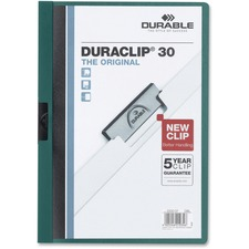 "DURABLE DURACLIP Letter Report Cover - 8 1/2"" x 11"" - 30 Sheet Capacity - Vinyl - Dark Green - 1 Each"