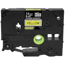 """Brother HGES6315PK Black on Yellow Extra-Strength Adhesive Label Tape - 15/32"""" - Thermal Transfer - Yellow - 1 / Roll"""