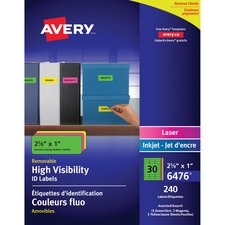 """Avery® Multipurpose Label - Removable Adhesive - 1"""" (25.40 mm) x 2.62"""" (66.55 mm) Length - Rectangle - Laser, Inkjet - Neon Blue, Neon Green, Neon Magenta, Neon Yellow - 30 / Sheet - 1 Pack"""