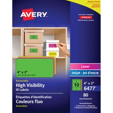 """Avery® Multipurpose Label - Removable Adhesive - 2"""" (50.80 mm) x 4"""" (101.60 mm) Length - Rectangle - Laser, Inkjet - Neon Blue, Neon Green, Neon Magenta, Neon Yellow - 10 / Sheet - 1 Pack"""
