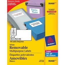 "Avery® File Folder Label - 2"" x 4"" Length - Removable Adhesive - Rectangle - Laser, Inkjet - White - 1 / Pack"