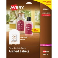 AVE22809 - Avery® Textured White Print-to-the-Edge Arched Labels
