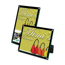 """Deflecto 4-in-1 Sign Holder - Support 8.50"""" (215.90 mm) x 11"""" (279.40 mm) Media - Vertical, Horizontal - Clear, Black, Green Tint"""