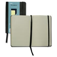 """Hilroy Pocket Size Memo Business Notebook - 96 Pages - 3 9/16"""" x 5 9/16"""" - Cream Paper - Black Cover - Leather Cover - Ribbon Marker, Pocket, Elastic Closure - 1Each"""