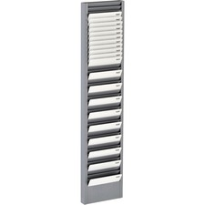 "MMF Heavy-duty Swipe Card Rack - 40 Compartment(s) - 18.7"" Height x 4.1"" Width x 1"" Depth - Durable, Scratch Resistant, Chip Resistant - Gray - Steel - 1 Each"