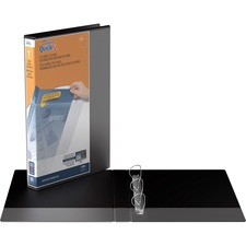 """QuickFit QuickFit Angle D-ring Deluxe Legal View Binder - 1"""" Binder Capacity - Legal - 8 1/2"""" x 14"""" Sheet Size - 225 Sheet Capacity - 3 x D-Ring Fastener(s) - 2 Internal Pocket(s) - Black - Recycled - Antimicrobial - 1 Each"""