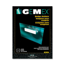 """Gemex Name Badge Holder with Magnetic Clip - Support 2.30"""" (58.42 mm) x 3.50"""" (88.90 mm) Media - Horizontal - Vinyl - 20 / Box - Clear"""