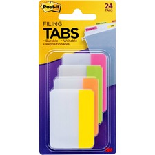 Post-it Tabs, 2 inch Solid, Assorted Bright Colors, 6/Color, 4 Colors, 24/Pk