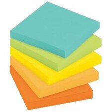 """Post-it® Super Sticky Recycled Note - 450 x Assorted - 3"""" x 3"""" - Square - Assorted - 5 / Pack"""