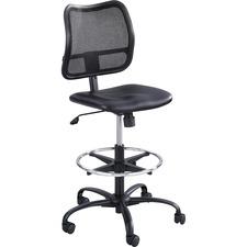 Safco Vue Extended-Height Vinyl Chair - Black Vinyl, Nylon, Polyester Seat - Black Back - 5-star Base