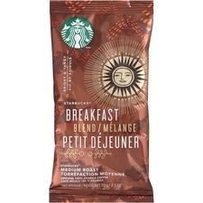 Starbucks Brkfast Blend Ground Single Pot Coffee Portion Pack - Breakfast Blend - Medium - 2.5 oz Per Box - 18 Packet - 18 / Box