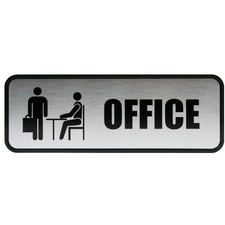 COS 098209 Cosco Brushed Metal Office Sign COS098209