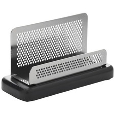 "Rolodex Distinctions Punched Metal And Wood Business Card Holder, Black/Pewter - 2.63"" (66.68 mm) x 4.75"" (120.65 mm) x 1.88"" (47.63 mm) x - Metal, Wood - 1 Each - Black, Pewter"