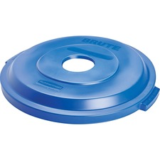 Rubbermaid 32 gal Single Stream Recy. Lid - Plastic - 1 Each - Blue