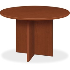 "HON 48"" Round Conference Table - Round Top - X-shaped Base - 1"" Table Top Thickness x 48"" Table Top Diameter - Laminated, Medium Cherry"