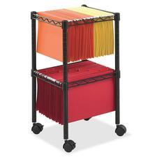 SAF 5221BL Safco Mobile Wire 2-Tier Compact File Cart SAF5221BL