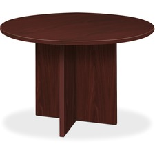 "HON 48"" Round Conference Table - Round Top - X-shaped Base - 1"" Table Top Thickness x 48"" Table Top Diameter - Laminated, Mahogany"